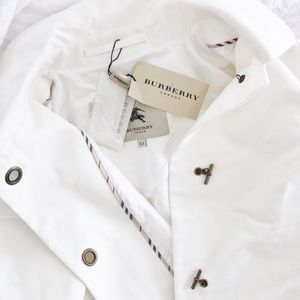 Burberry Jackets & Blazers - Burberry White Toggle Cotton Trench Coat