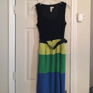 Emma and Michele Dresses & Skirts - Color Blocked Pleated  Dress with Belt