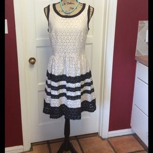 Ice Dresses & Skirts - NWOT pretty ivory and black eyelet dress