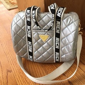 Joyrich Handbags - Joyrich Silver Quilted Mini Duffle Shoulder Bag