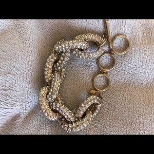 J. Crew Jewelry - J Crew jeweled pave chain link bracelet gold