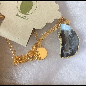 Bondhu Jewelry - Agate Geode Slice Necklace 18K