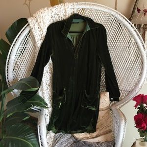 Dresses & Skirts - Green velvet shirt dress