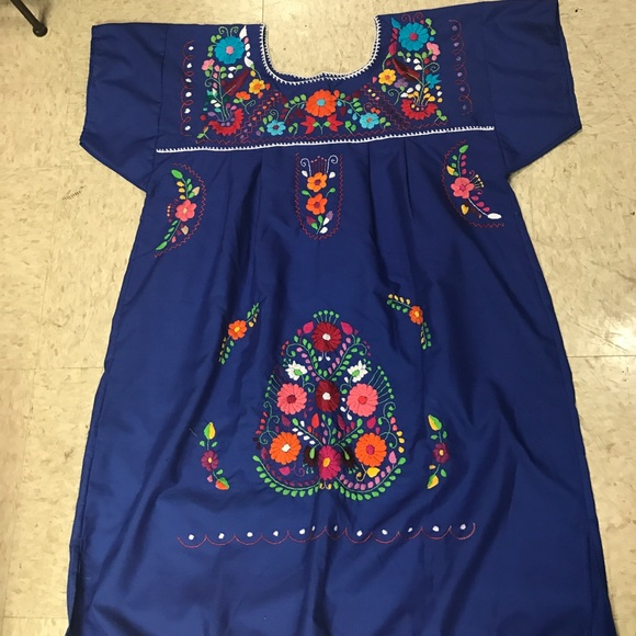 Plus Size Mexican Embroidered Dress Floral Royal B Boutique