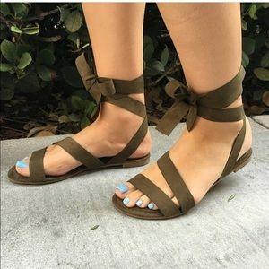 Shoes - Olive Suede Ribbon Wrap Flat Sandal