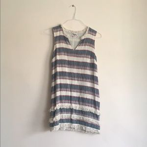 Anthropologie fringe and striped shift dress