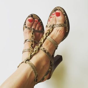 Coach Shoes - Coach Libertie Phyton Print Strappy Heels