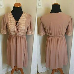 NWOT Rose Chiffon Flounce Sequin Peasant Dress