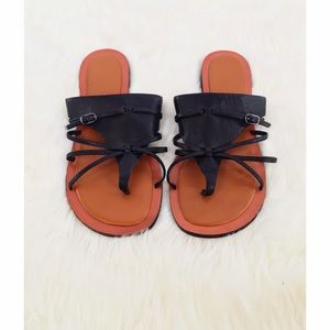 Charles Jourdan Shoes - Black Strappy Leather Sandals