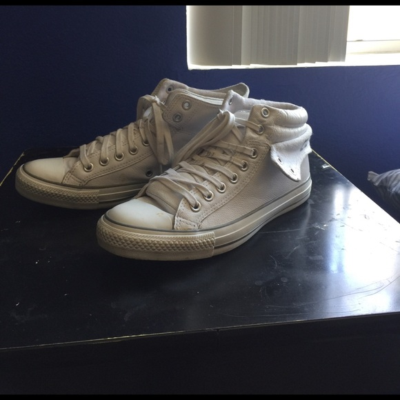 582a7460e39b Converse Shoes - Unisex White Leather CONVERSE High Top Fold Down