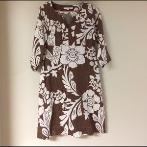 Boden Dresses & Skirts - Boden brown and cream Floral Dress