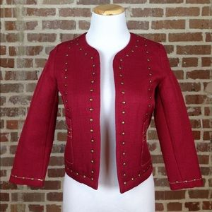 3/4 sleeve red jacket