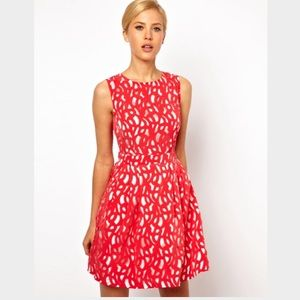 ASOS Petite Dresses & Skirts - ASOS Lasercut Dress with Cutout Back In Red