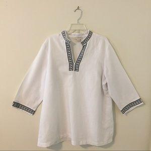 Kenar Tops - Kenar White Linen Tunic - XL/16