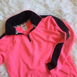 PINK Victoria's Secret Sweaters - PINK half zip neon pink curved raw hem  sweater