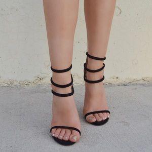 Shoes - Black Triple Ankle Strap Heels