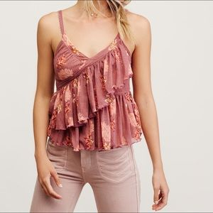 Free People Melbourne Ruffle Ribbed Tank