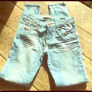 Zara NWOT studded mid-rise skinny jeans