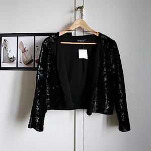 Topshop PETITE Jackets & Blazers - Topshop sequined black bolero NWT