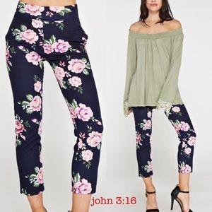 Boutique Pants - Ankle floral pants