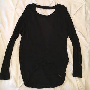 Open back black drapey top