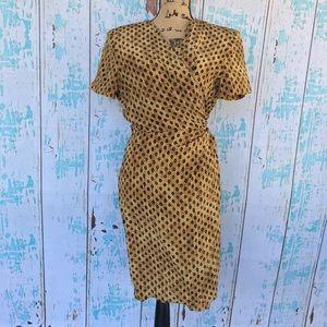 Vintage Maggy London 100% silk wrap dress size 12