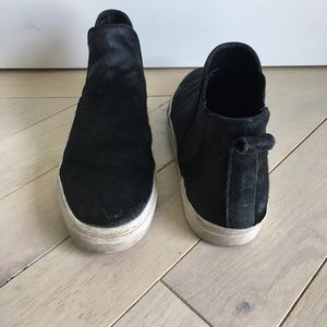 Sam Edelman black calf hair slip on sneakers
