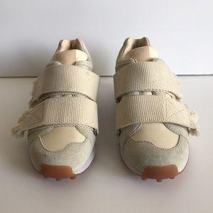 3.1 Phillip Lim Cream Suede Low-Top Trance Sneaker