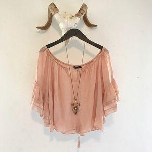 Zara Pink Off-The-Shoulder Blouse