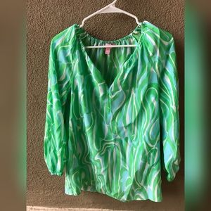 Lilly Pulitzer Silk 3/4 Sleeve Blouse