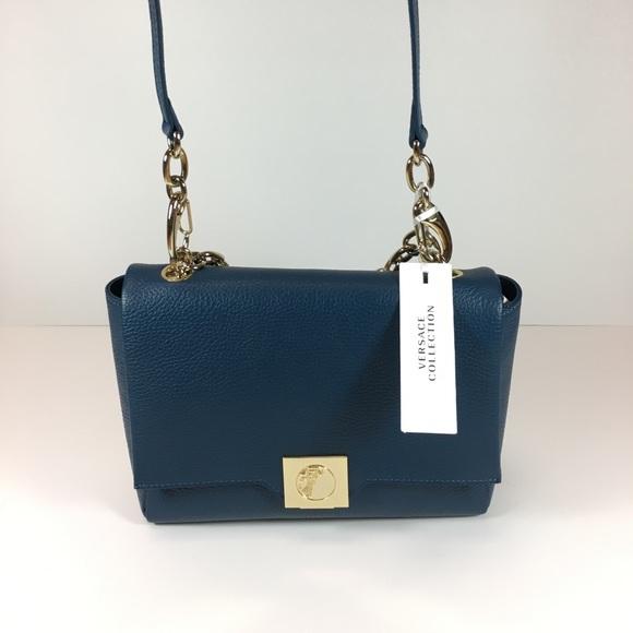 85b588e0576b Versace Collection Leather   Goldtone Handbag