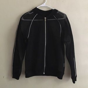Mesh jacket with silver trim