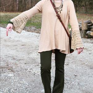 hayden Tops - Crochet lace bell sleeve top