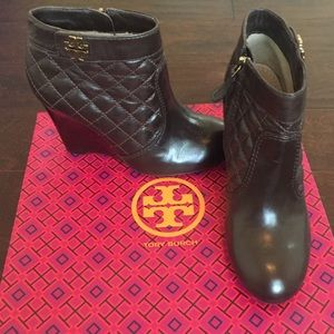 Tory Burch Leila Quilted Leather Wedge Bootie
