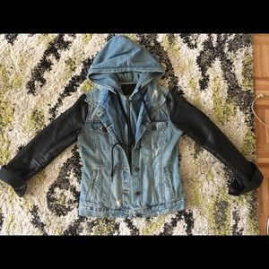 Blank Denim jacket with faux leather sleeves