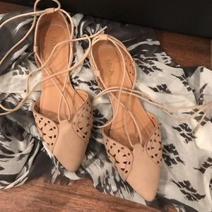 MIA Shoes - WORN ONCE! MIA lace up nude flats