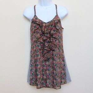 MM Couture Tops - Miss Me Floral Ruffle Tank, Size M