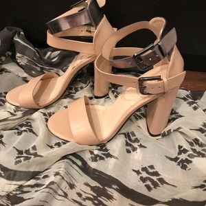 Forever 21 Shoes - Strappy trendy blush and metallic heels
