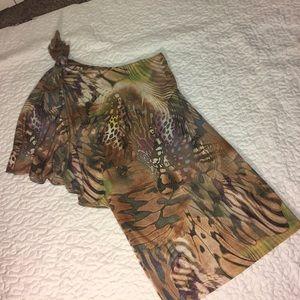 Cache one Shoulder Animal Print Dress
