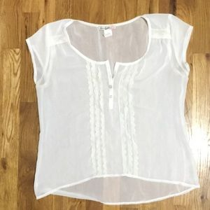 Love Squared Tops - Nordstrom's White sheer lace embroidered tee