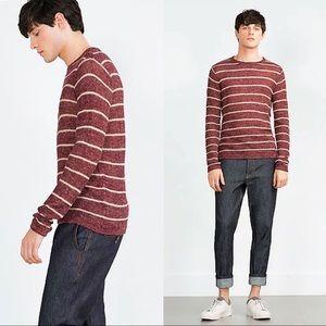 Zara Other - ⚡️✨Cream Striped Maroon Crochet Sweater ⚡️