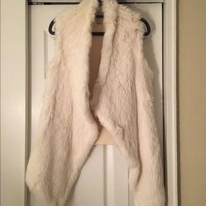 Ivory Rabbit fur vest