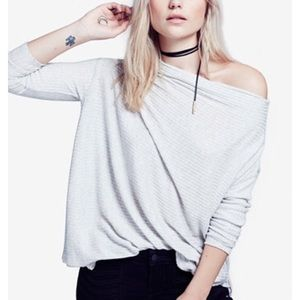 Free People Lover Ribbed Cutout Top in Turquoise