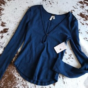 Free People Tops - NWT We the free blue keyhole ribbed thermal S