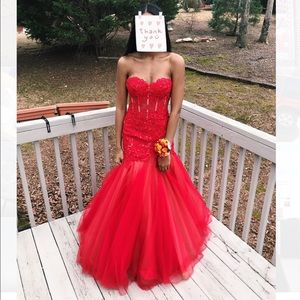 AUTHENTIC RED SHERRI HILL MERMAID DRESS #11155