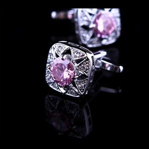 Queen Esther Etc Other - Men's Rhinestone & Pink High Quality Cufflinks