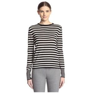 Les Copains Sweaters - New LES COPAINS Ivory &Black Merino Stripe Sweater