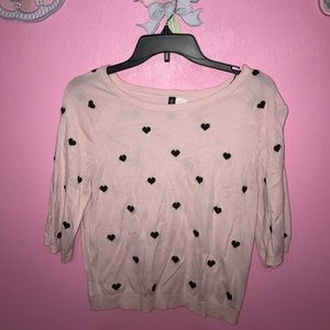 Beautiful Heart Filled Sweater Crop Shirt