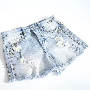 Blank Denim Pants - Blank NYC High Waist Stud Shorts