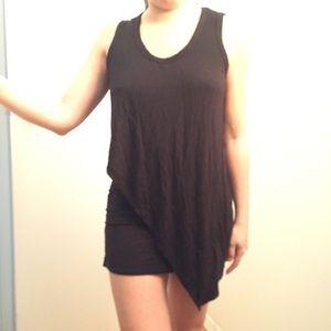 Stretch draped black dress